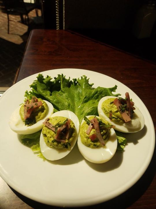 Deviled Egg of the Week is Green Eggs & Ham! Pesto filling topped with…
