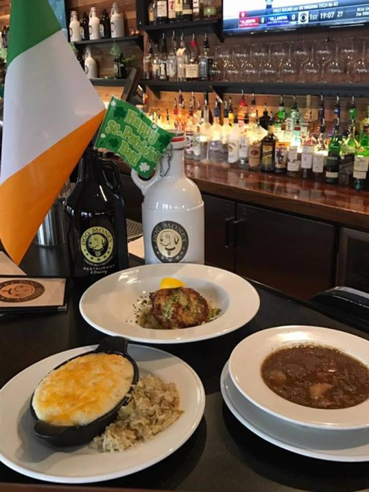 Irish-style stout, shepherds pie, Irish stew, and cod cakes at Dog Money for St.…