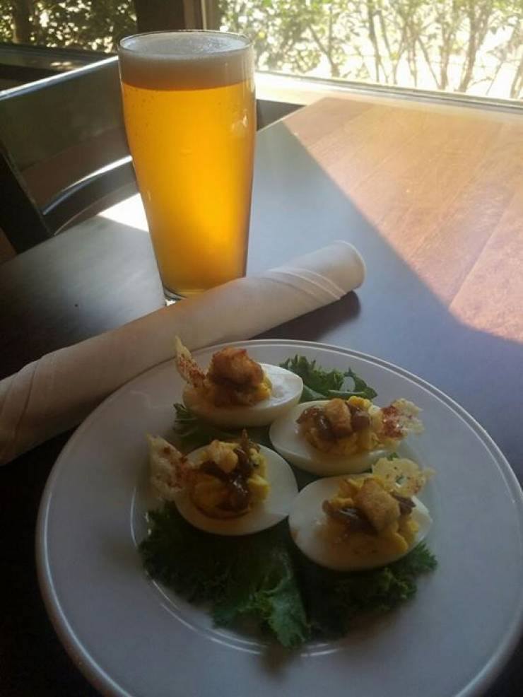 Chef Ganzer's Deviled Egg Of The Day: Traditional Deviled Egg topped with onions caramelized…