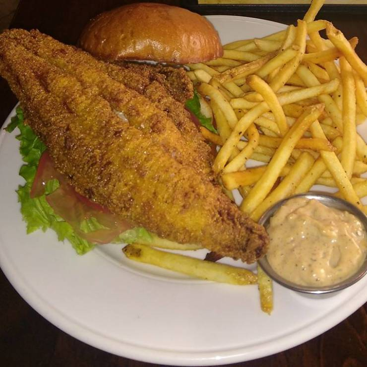This Week's Fish For The Lenten Season: Buttermilk Cornmeal-Breaded Catfish on Potato Bun with…