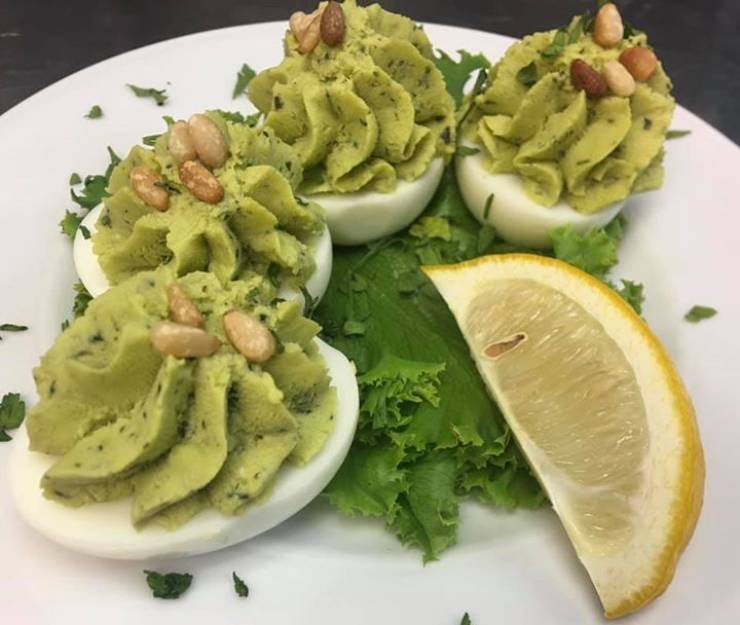 This Week's D$ Deviled Egg: Basil Pesto with Pine Nuts!